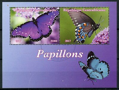 Central African Rep 2017 CTO Butterflies 2v M/S I Butterfly Insects Stamps