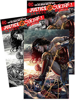 3x JUSTICE LEAGUE VS SUICIDE SQUAD 1 FORBIDDEN PLANET; VIRGIN GRANITE DC COMICS