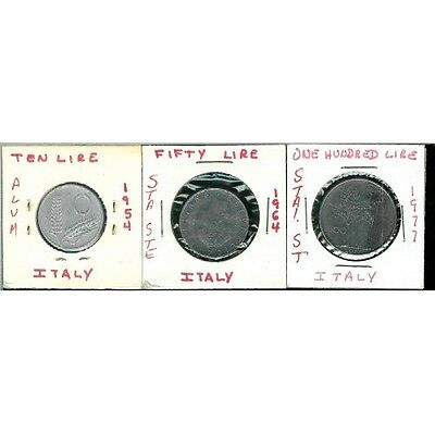 3 Coins Lot For Italy  * 10 / 50 / 100 Lires * 1954 - 1964 - 1977