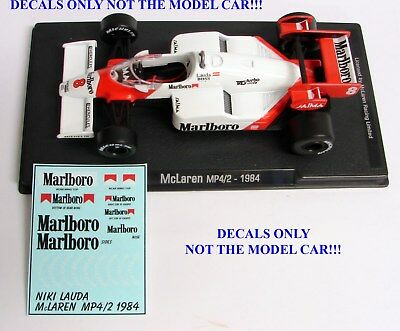 DECALS for NIKI LAUDA 1984 McLaren MP 4/2 F1 Marlboro 1:43 Formula 1 F1 ALTAYA