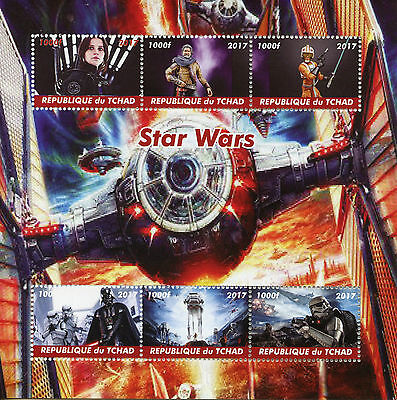 Chad 2017 MNH Star Wars 6v M/S Darth Vader Movies Film Stamps