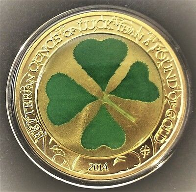 The Lucky Four-Leaf Clover - Republic Of Palau 0.999 Gold Clad Coin