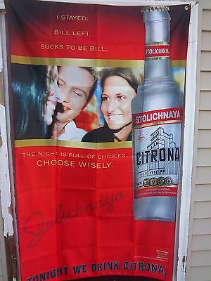 Colorful Stolichnaya Citron Premium Malt Beverage Polyester Wall Banner