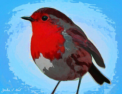 Red Robin In Blue Sky Bird Art Print From Original Oil Canvas Painting Signed