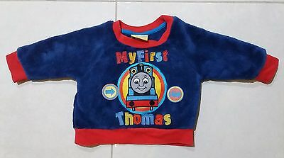 Baby's MY FIRST THOMAS THE TANK ENGINE blue fluffy jumper size 00