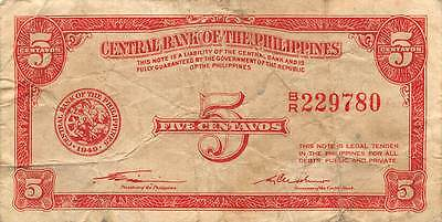 Philippines  5  Centavos 1949  Series B/R Circulated Banknote MX1116SF