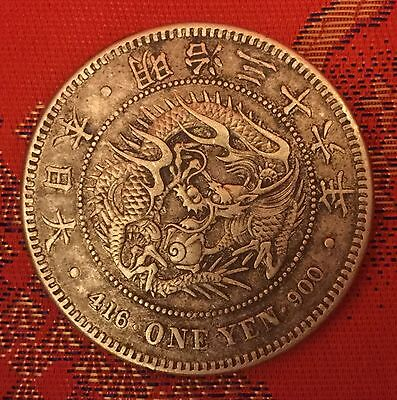 RARE Japan Year 1903 Meiji 36 One Yen Dragon Silver Coin