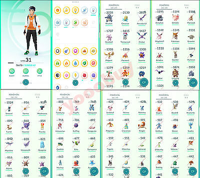 1600+ ITEMS |  Pokemon-Go-Account | Level 31 | 2ND GENS | 1600+ MAGIKARP CANDIES