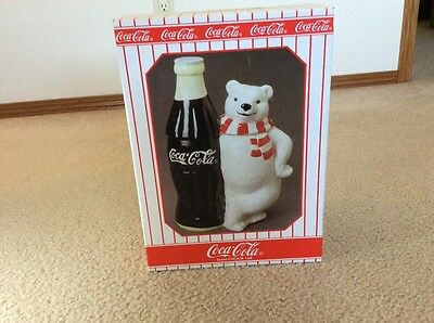 Coca Cola Polar Bear with LARGE COKE BOTTLE Rare 1998 Cookie Jar
