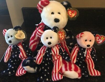 LOT of 4 TY BEANIE BABIES  Pink Blue And White Spangle, Large Spangle Plush New