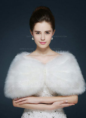 Faux Fur Bridal Wrap in Ivory with Pearl Bead Accents in the Front