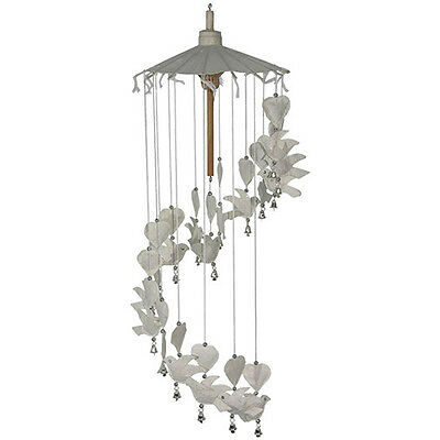 Doves and Hearts Mobile Decoration.  Made From Saar Paper Wind Chime with bells