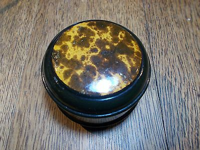 Antique Black Mauchline Ware Clark Cotton Reel Holder Shell Effect Transfer