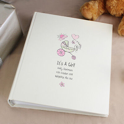 NED//NELLY ELEPHANT Personalised Christening//Baptism Guest Photo Book PINK//BLUE
