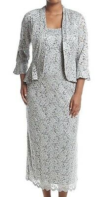 Women's Formal Plus Jacket Dresses Sz 16W in Silver Mother of Bride [fits Sz 18]