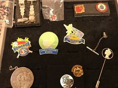 12 Collectible Pins including Disney, Christopher Robin and Louis Braille