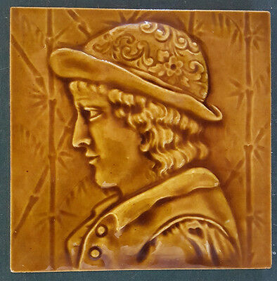 """Antique Tile. Young Man's Silhouette. 6""""."""