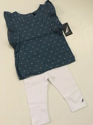 Nautica Girl Tunic Top Leggings Outfit Size 2T 3T Chambray Blue White Nautical
