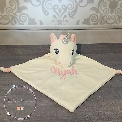 Personalised Baby Comforter Blanket, Cubbie Unicorn, Embroidered, New Baby Gift