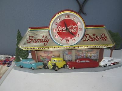 """Vitg Coca Cola 3D Wall Clock """"Family Drive In Diner"""" Battery Plastic Works 1988"""