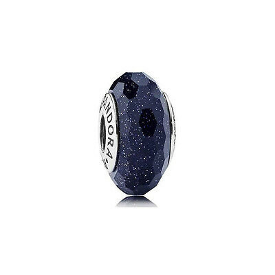Authentic Pandora Midnight Blue Stardust Murano Silver Charm - 791628