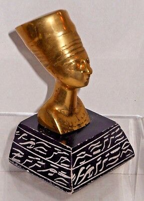 Egyptian Queen Nefertiti Figural Bust w/ Hieroglyphics Base