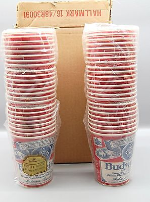 Vintage Budweiser Tailgate Party Lot Paper Cups Hallmark in Box! 48 Cups NOS NEW