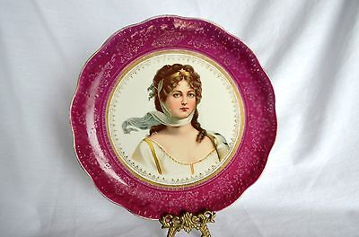 Antique Rare Dresden Pottery Works Victorian Lady China Cabinet Plate Ohio