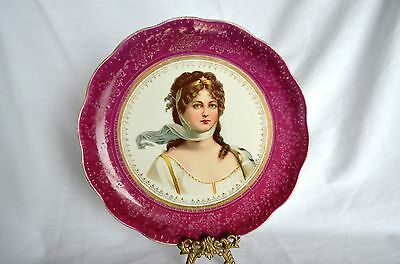 Vintage Antique Rare Dresden Victorian Lady China Cabinet Plate Germany