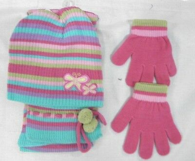 LOT Girls winter hat glove scarf gift set 6  $ 35 Aqua Blue & Pink One Size NEW