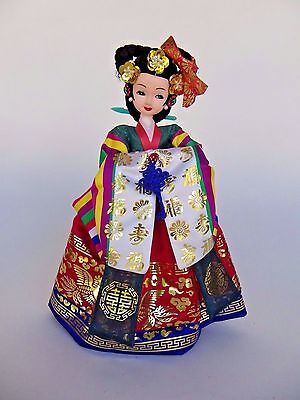 "Korean Doll Figurine With Traditional Colorful Hanbok Attire 10"" Tall"