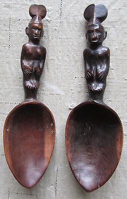 Antique Tribal Artifact Spoons (2) Philippine Ifugao Human Sculptural Art Forms