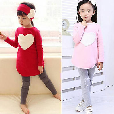3pcs Girls Toddler Heart Sweatshirt Top + Pants + Headband Children Outfits Set