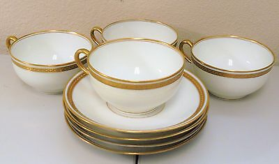 Limoges Theodore Haviland Schleiger 890 (4) Four White, Gold Trim CUPS & SAUCERS