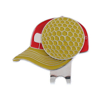 Pocket Alloy Golf Hat / Cap / Visor Clip with Magnetic Ball Marker Yellow