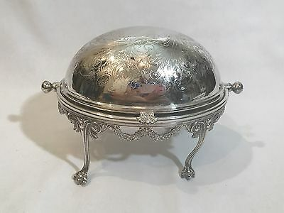 English Victorian Silver Plated Footed Butter Dome