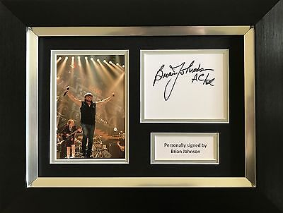 Brian Johnson Hand Signed Autograph Framed Photo Display Ac/dc