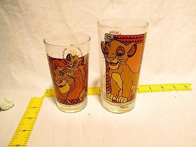 Lot of 2 Vintage Disney Lion King Glass Cup STILL HAVE TAGS Anchor Hocking