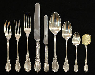"Rare 19C French Emile Puiforcat 950 Sterling Silver Flatware ""roses""  54 Pcs."