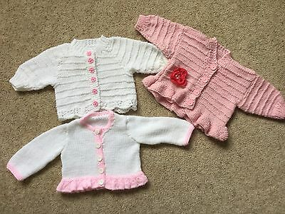 3 Hand Knitted Baby Girls Cardigans Age 3-6 Months  New