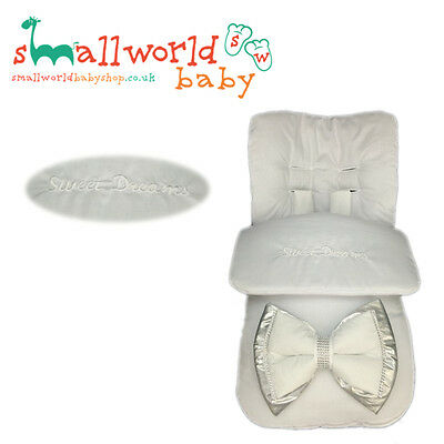 Personalised Boys Girls White Bling XL Silver Bow Footmuff (NEXT DAY DISPATCH)