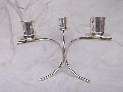 346 / FABULOUS VINTAGE 1960,s DANISH BERG SILVER PLATED 3 BRANCH CANDLESTICK