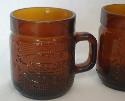 Collectable Vintage PNG's Finest Nescafe Dark Amber Glass Coffee Mug