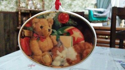 Porcelain American Greeting MERRY CHRISTMAS 1994 Ornament Teddy Bear and Kitten
