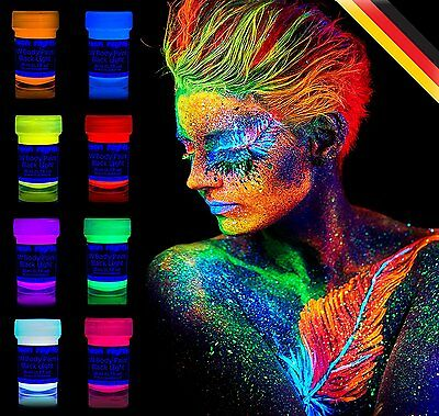 UV Body Face Paint Set Fluorescent Glow Black Light Neon Painting Makeup 8 Color