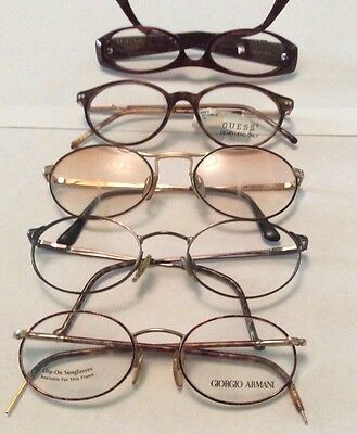Lot of 5 New Eyeglass Frames vintage Vanni Occhiali Guess Giorgio Armani Closeou
