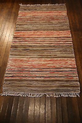 Fab Handmade Antique Swedish Rag Rug 32x66 Inches 1930s