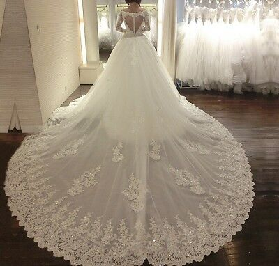 New White Ivory Long Sleeves   Wedding  Bridal Formal Dress Gown