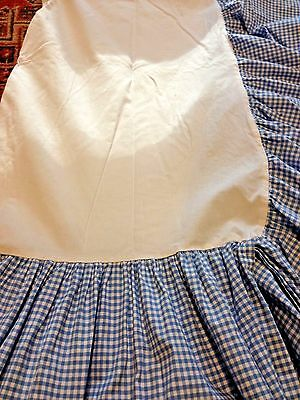 Pottery Barn Kids Gingham Check Dust Ruffle Crib Baby Nursery Bed Skirt Blue 10""