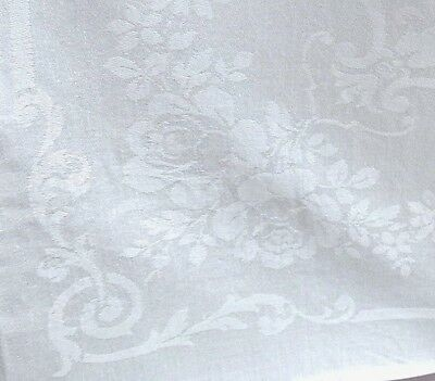 "Vintage Irish Dbl. Damask Linen Napkins (4) 22"" Roses & Daisies - Scroll Borders"